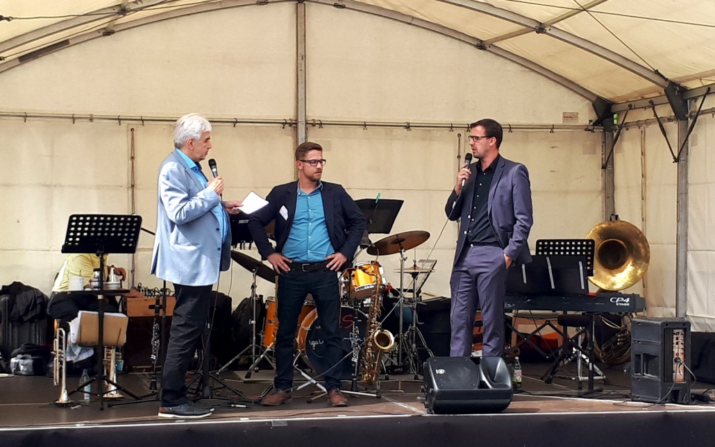 v. l. n. r.: Reinhard Gradmann (Moderation), Reiner Weidle (Leitung Technik Dienste für Menschen gGmbH), Michael Farkas